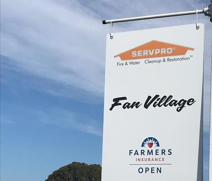 SERVPRO logo in the Farmers Insurance Open event sign