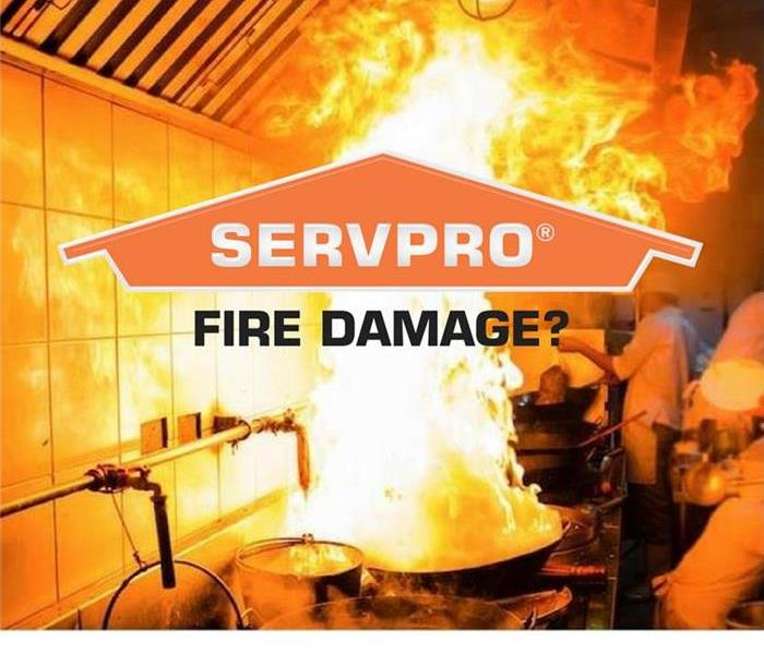 SERVPRO logo in front of comercial kitchen fire