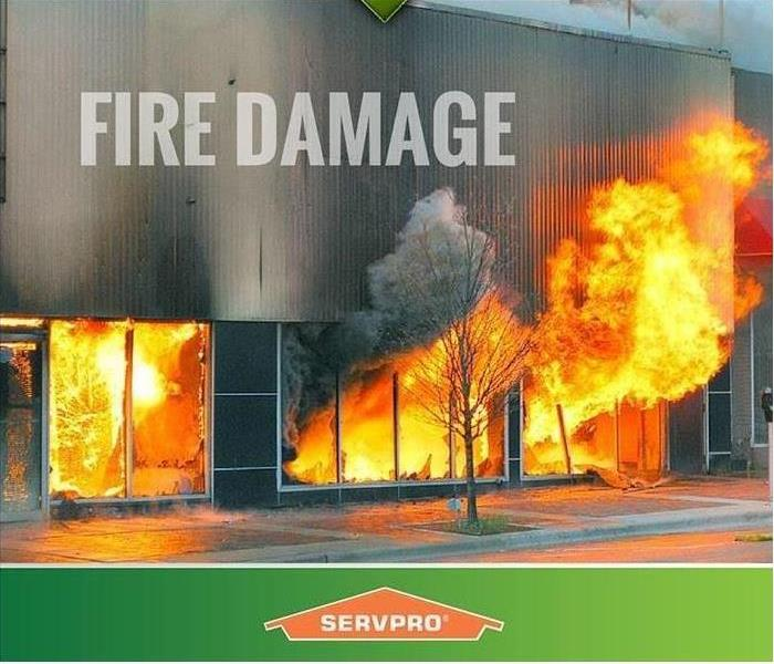 Commercial fire with SERVPRO logo
